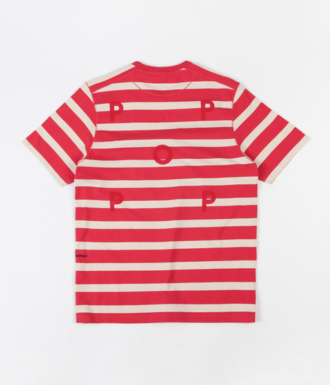 Pop Trading Company Big Stripe T-Shirt - Coral / Off White