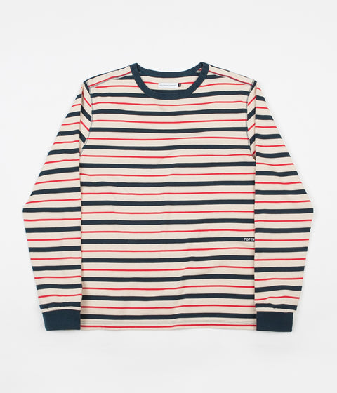 eec63bcf323717 Pop Trading Company Kris Striped Long Sleeve T-Shirt - Dark Teal   Off White