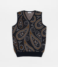 Pop Trading Company Paisley Spencer Vest - Navy / Brown