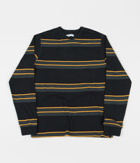 Pop Trading Company Striped Long Sleeve T-Shirt - Anthracite / Yellow