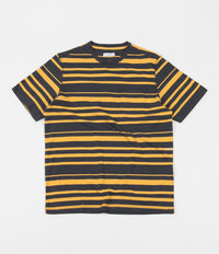 Pop Trading Company Striped Pocket T-Shirt - Charcoal / Yellow
