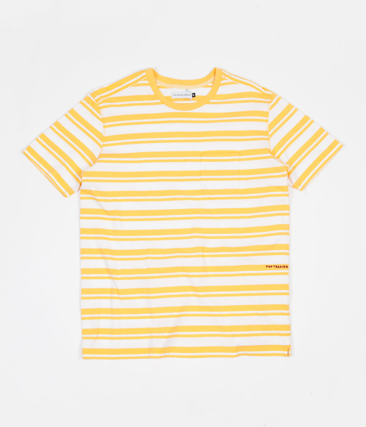 141193aeba3449 Pop Trading Company Striped Pocket T-Shirt - Yellow   White