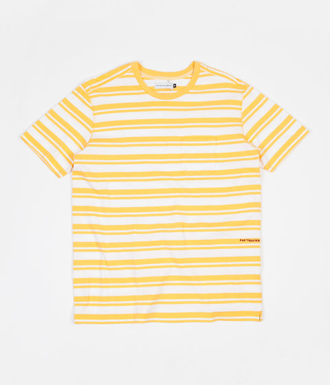 Pop Trading Company Striped Pocket T-Shirt - Yellow / White