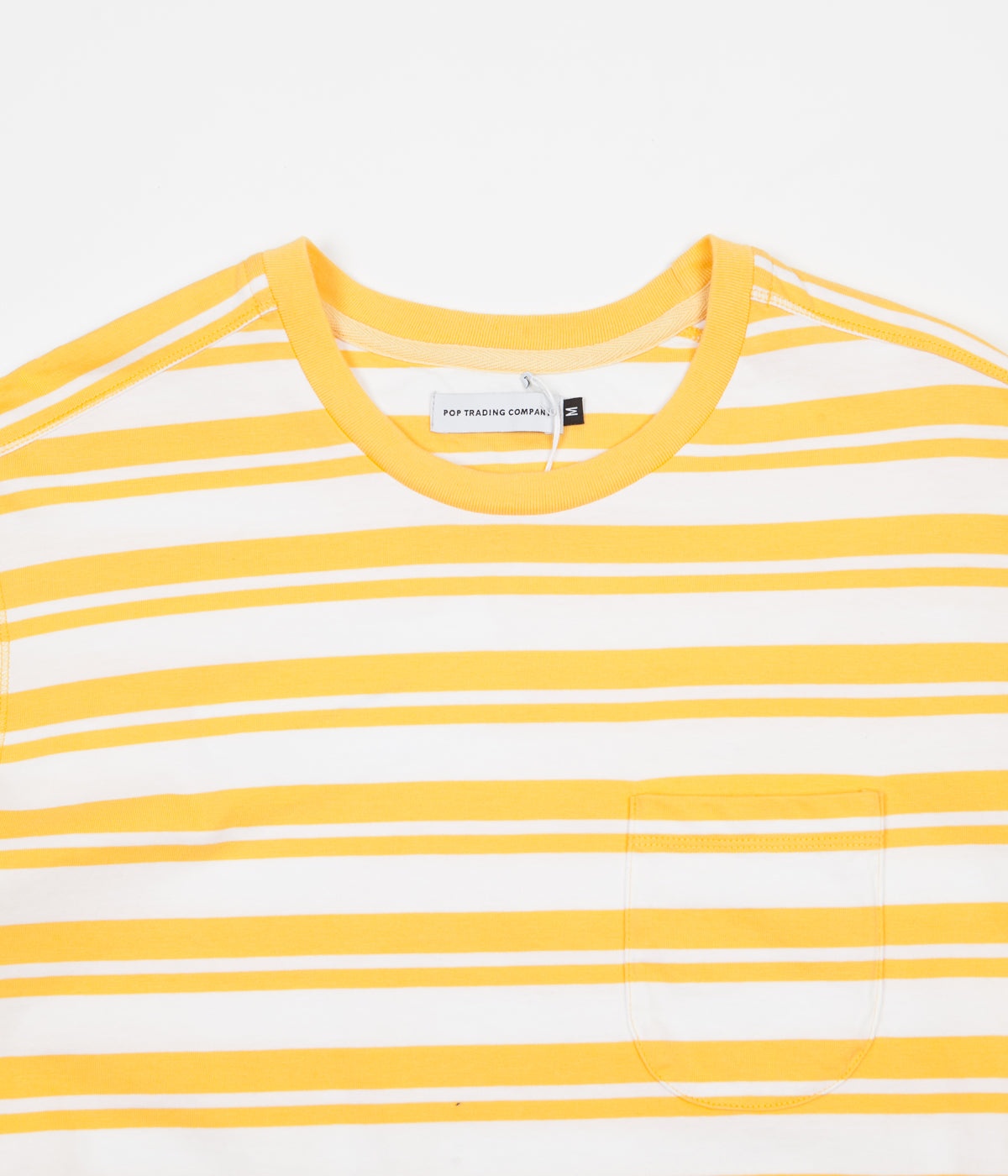fcac25f43138f8 ... Pop Trading Company Striped Pocket T-Shirt - Yellow   White ...