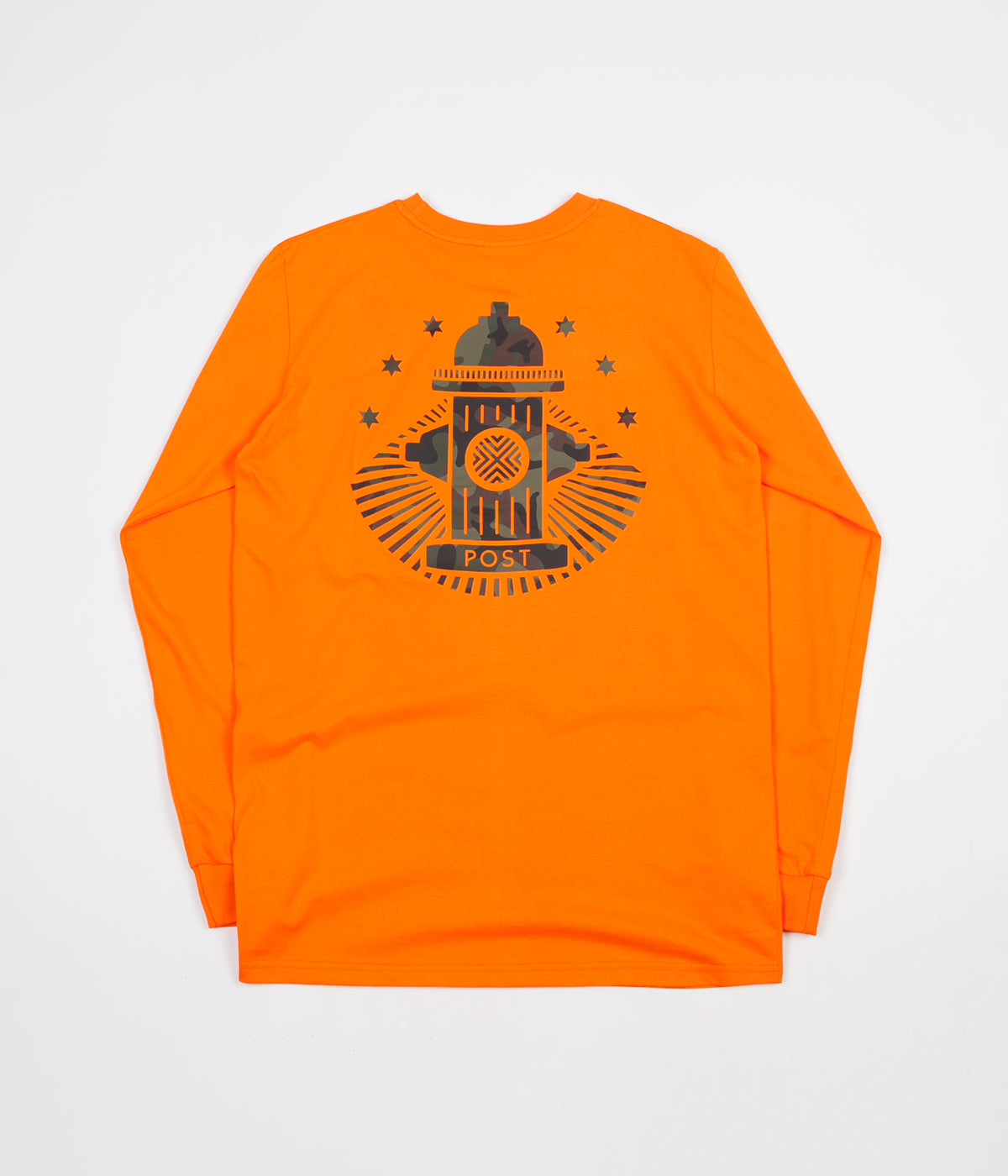 Post Details Camo Hydrant Long Sleeve T-Shirt - Orange