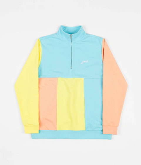 Post Details Embroidery Script Half Zip Sweatshirt - Aqua / Yellow / Peach