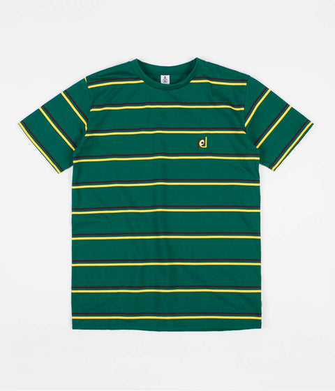 Post Details Striped T-Shirt - Green / Yellow / Burgundy