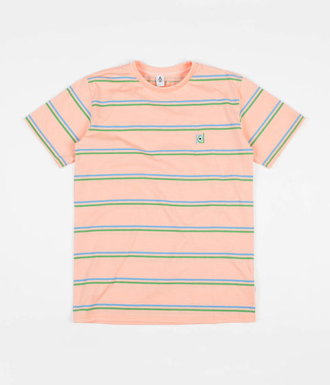 Post Details Striped T-Shirt - Peach / Blue / Green