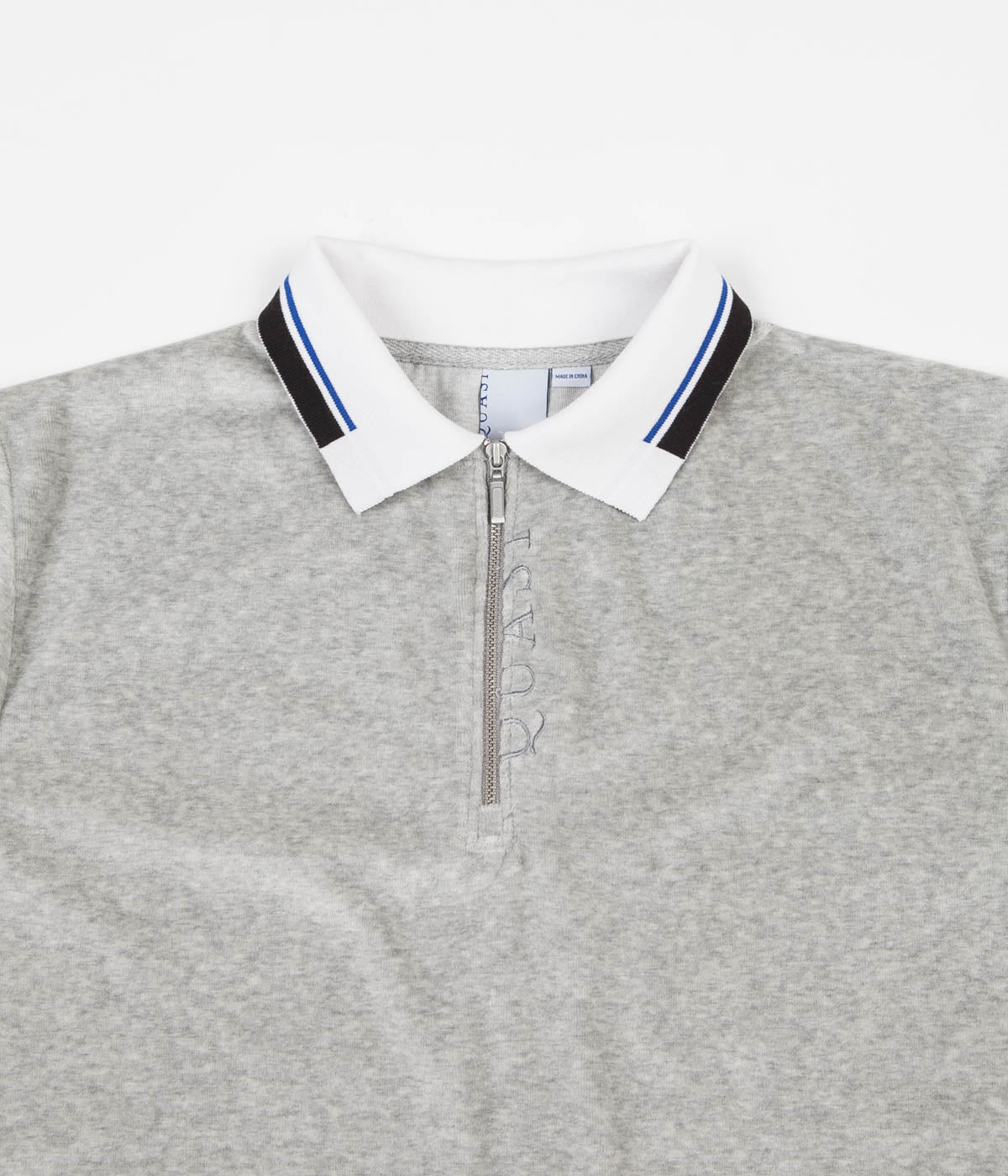 Quasi Velour Zip Polo Shirt - Heather Grey
