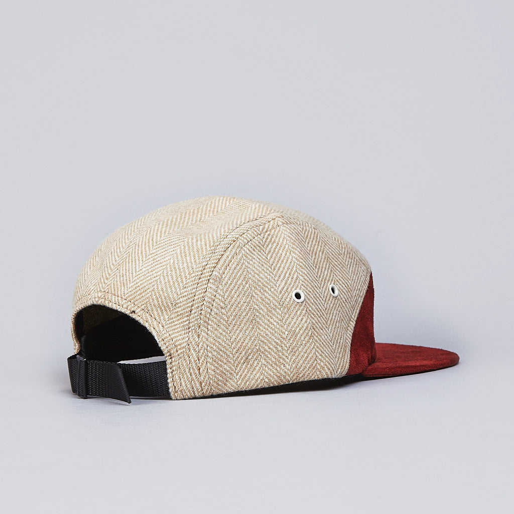 Raised By Wolves 7 Panel Cap Brick Suede / Camel Herringbone
