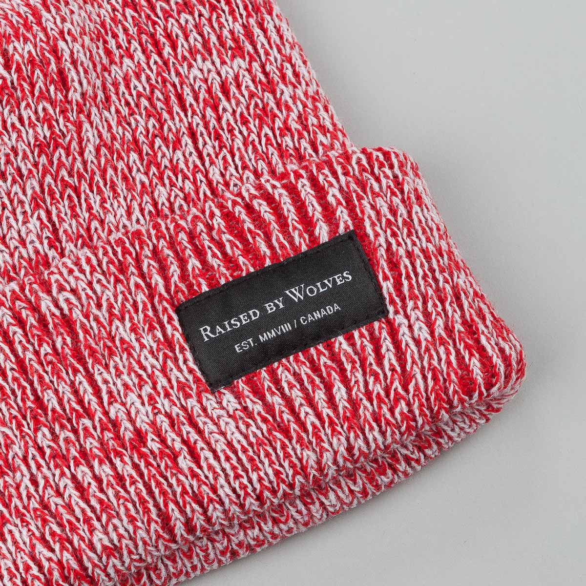 Raised By Wolves Alert Watch Beanie Hat - White / Red