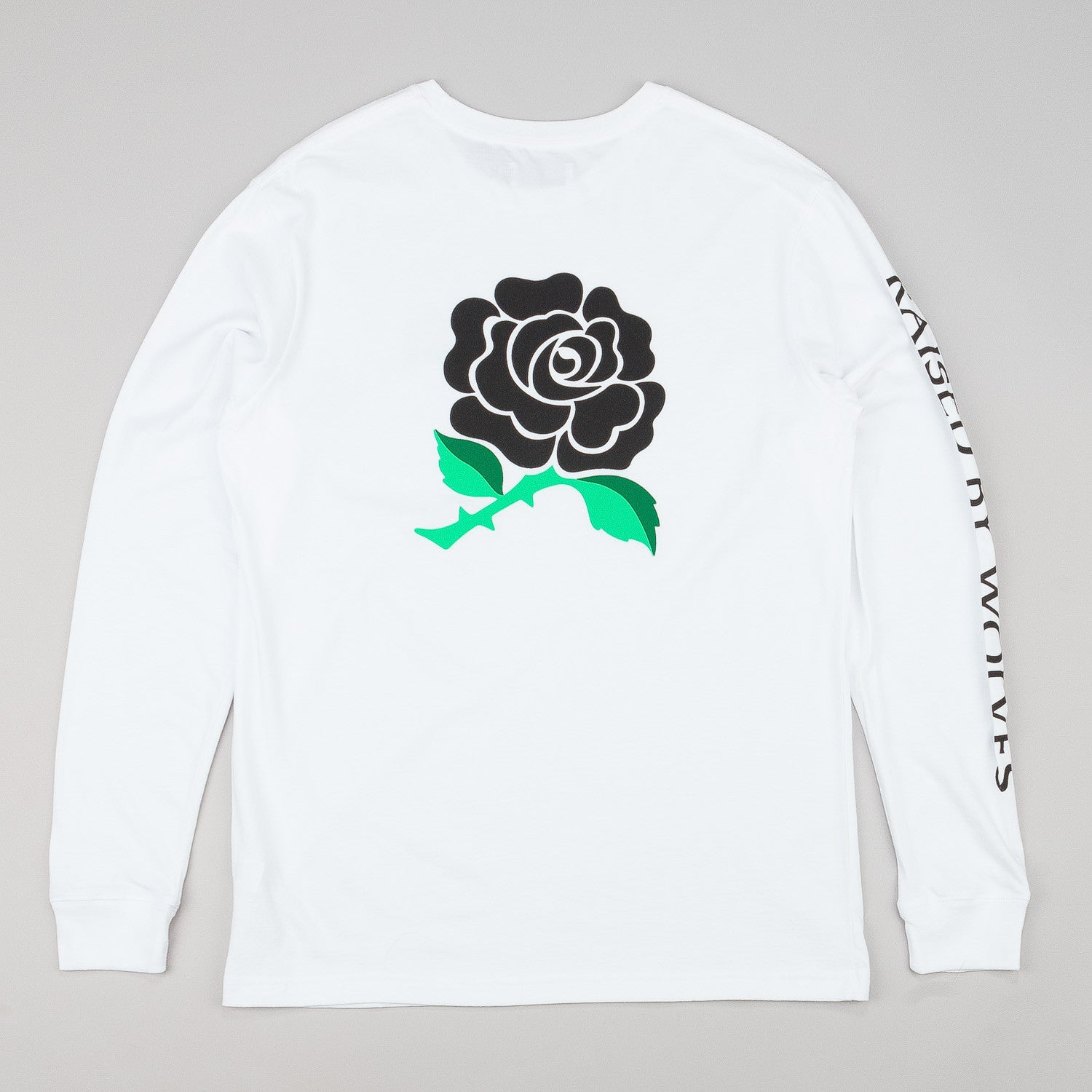 Raised By Wolves Black Rose Long Sleeve T-Shirt - White