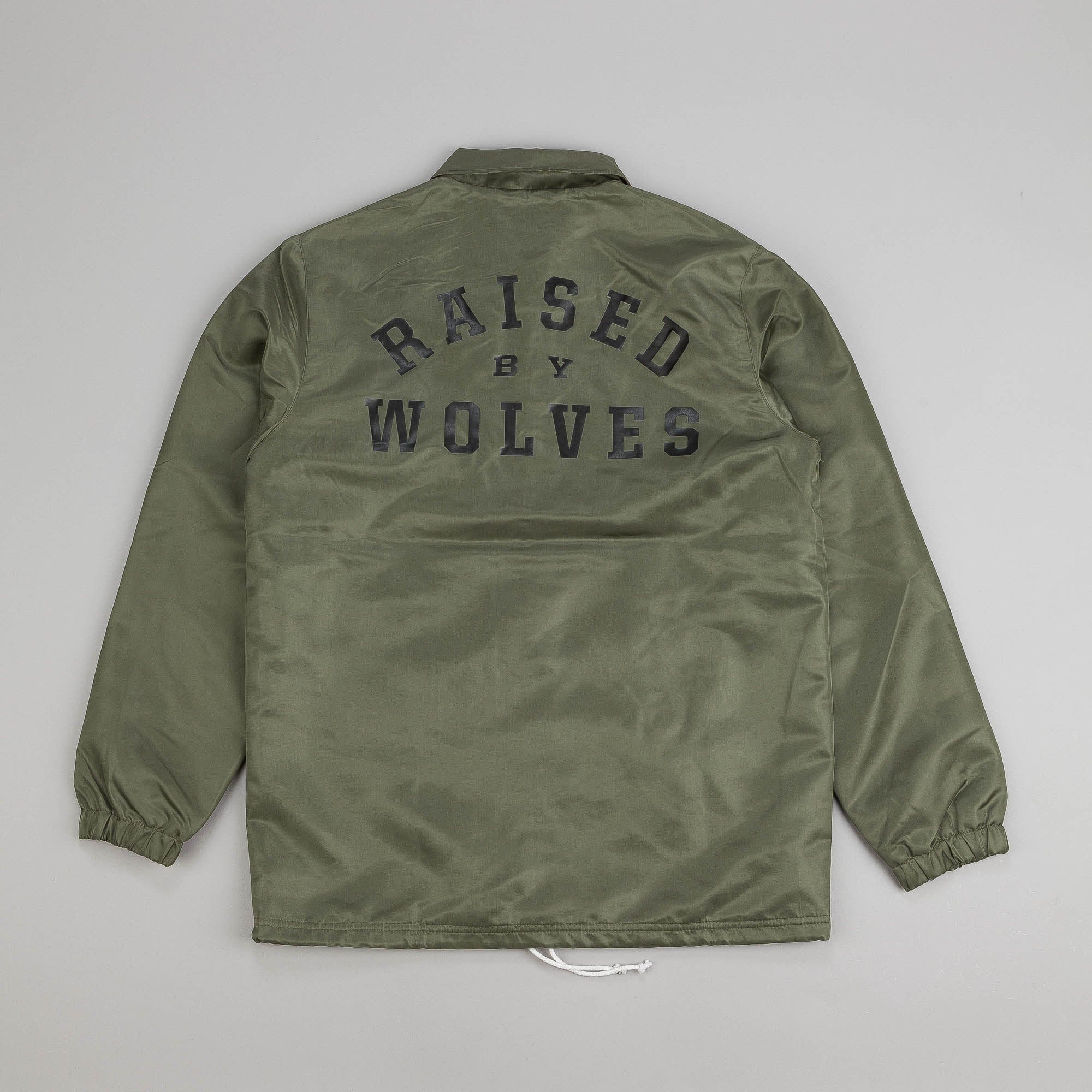 Raised By Wolves College Coaches Jacket Olive Drab