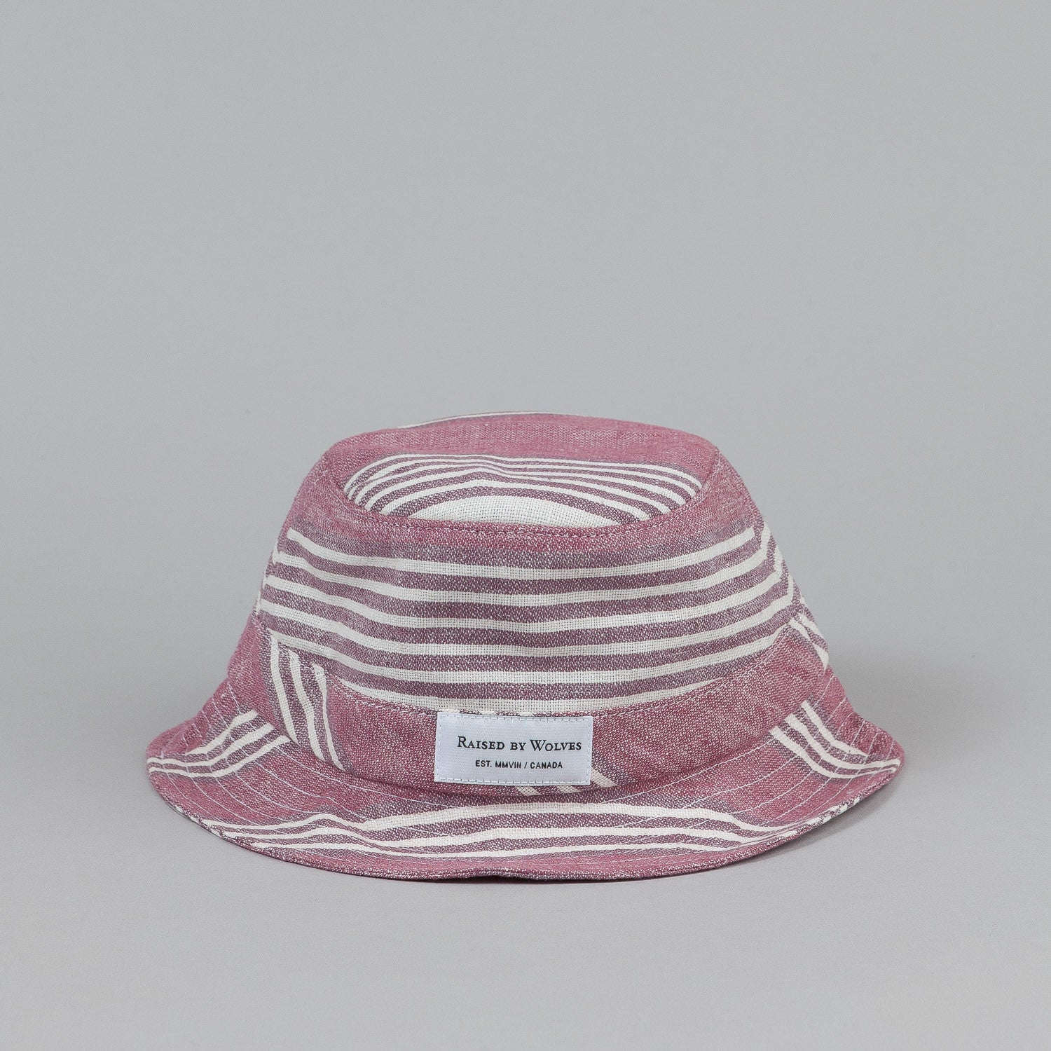 Raised By Wolves Gatineau Bucket Hat - Stripe Linen Red