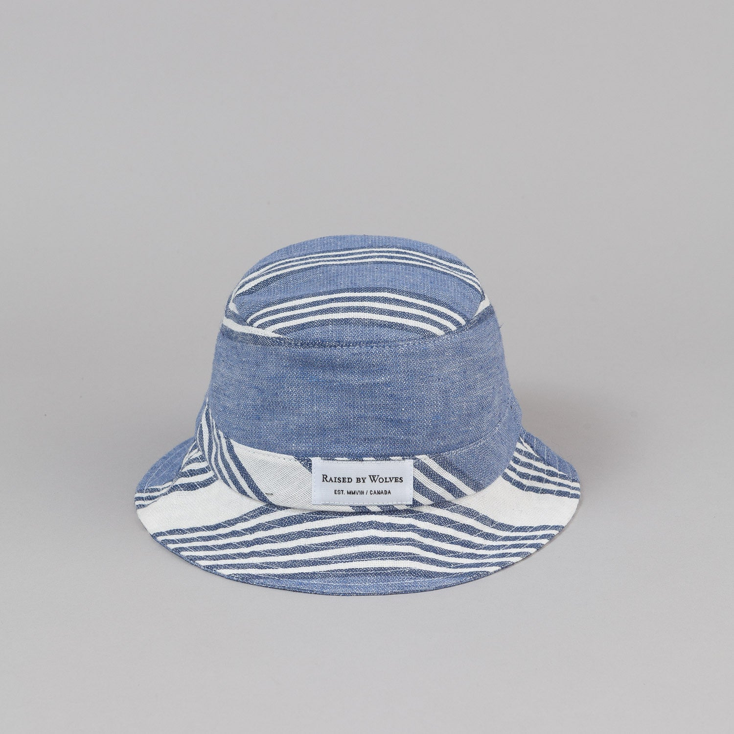 Raised By Wolves Gatineau Bucket Hat - Stripe Linen Blue