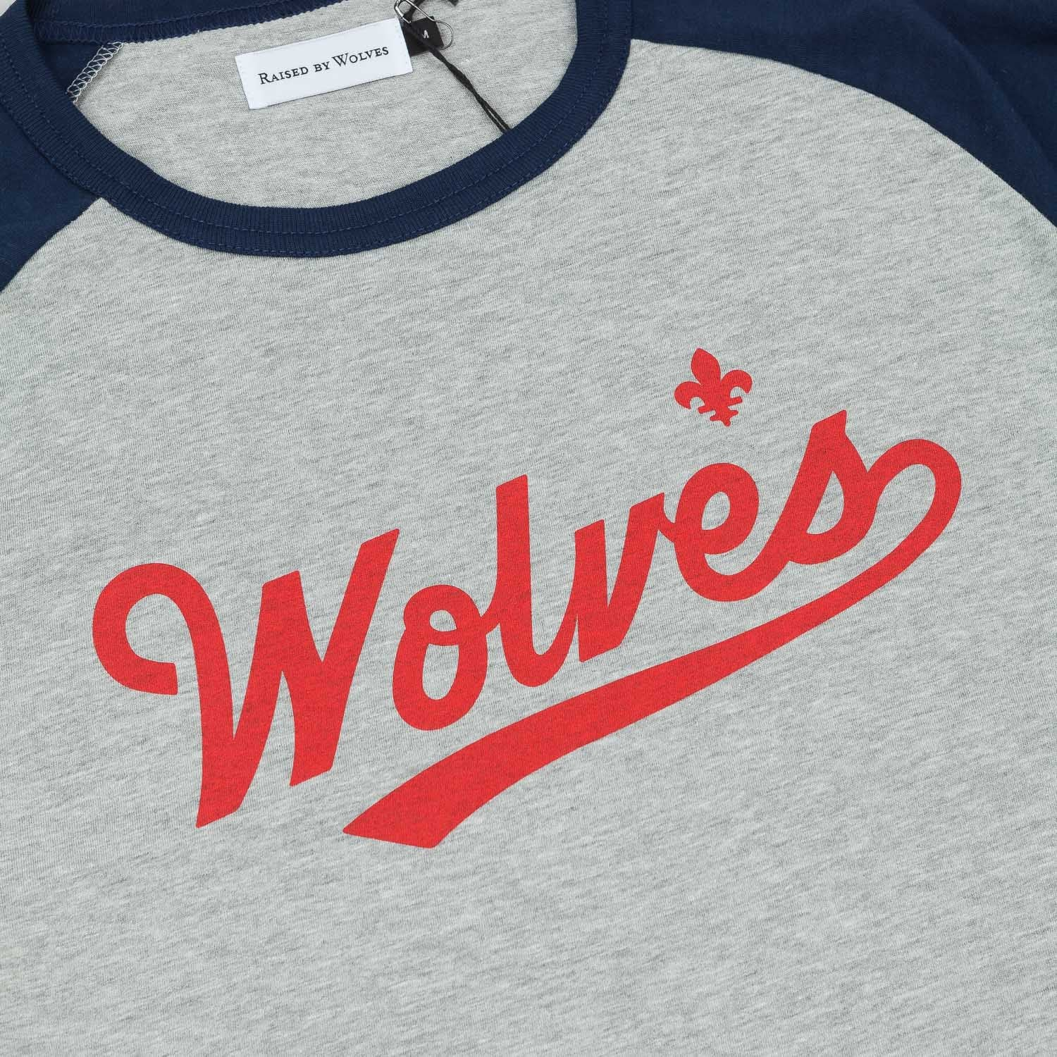 Raised By Wolves Raines Warm-Up 3/4 Sleeve Raglan T-Shirt - Heather Grey / Navy