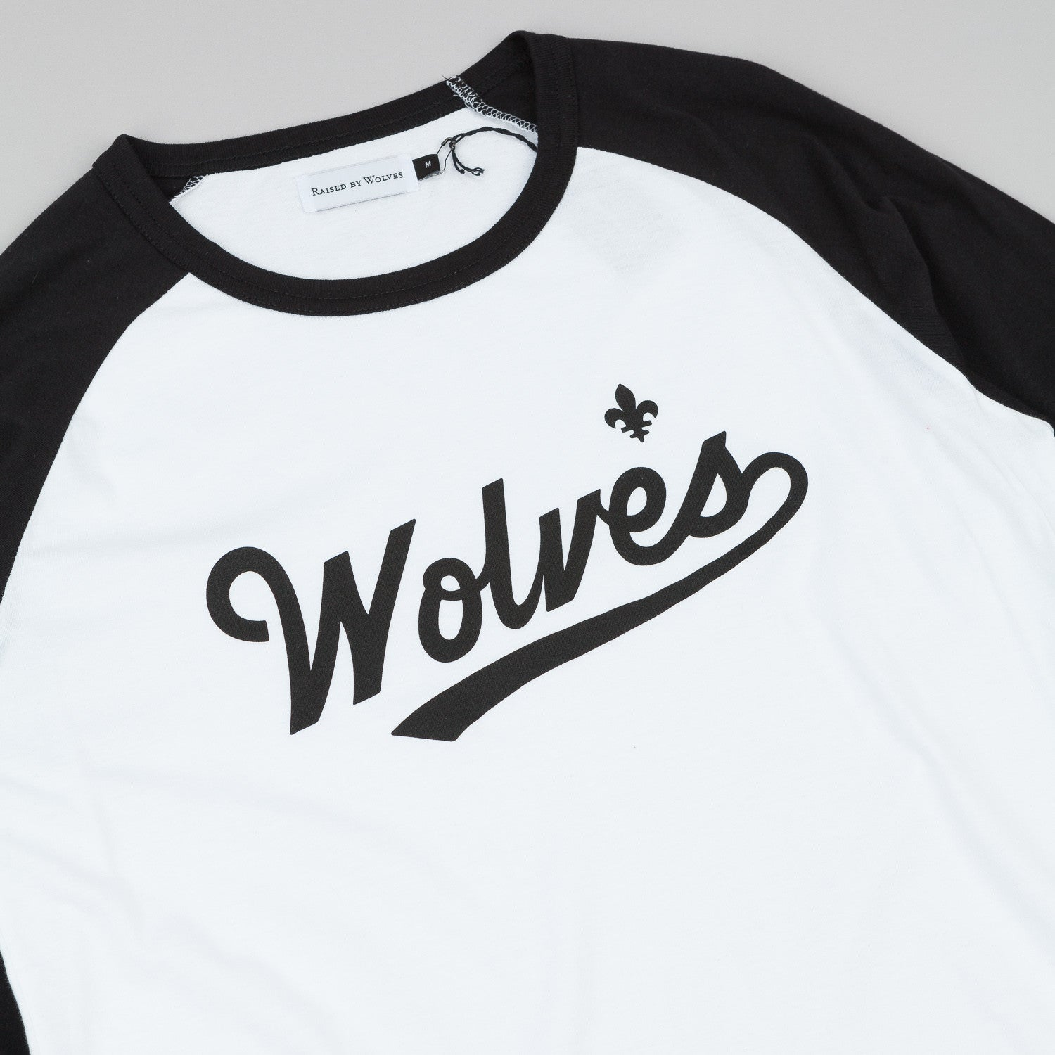 Raised By Wolves Raines Warm-Up 3/4 Sleeve Raglan T-Shirt - White / Black