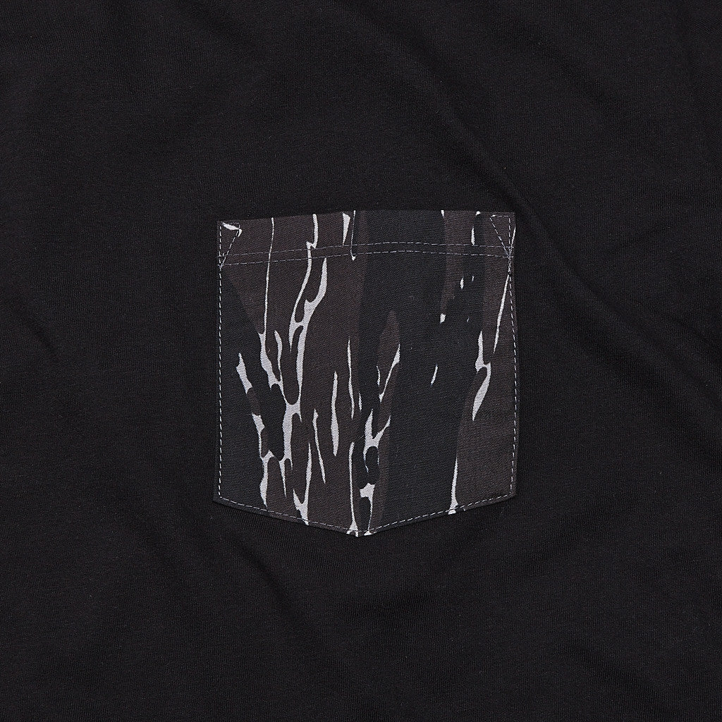 Raised By Wolves Tigerstripe Pocket T Shirt Black
