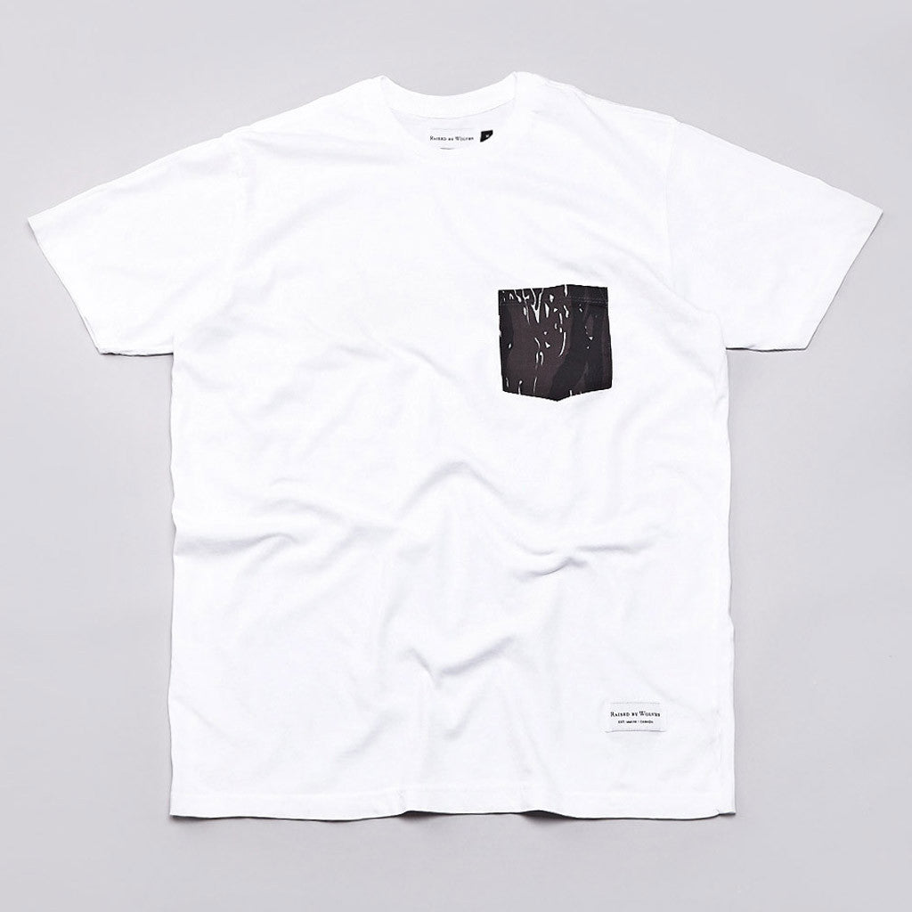 Raised By Wolves Tigerstripe Pocket T Shirt White