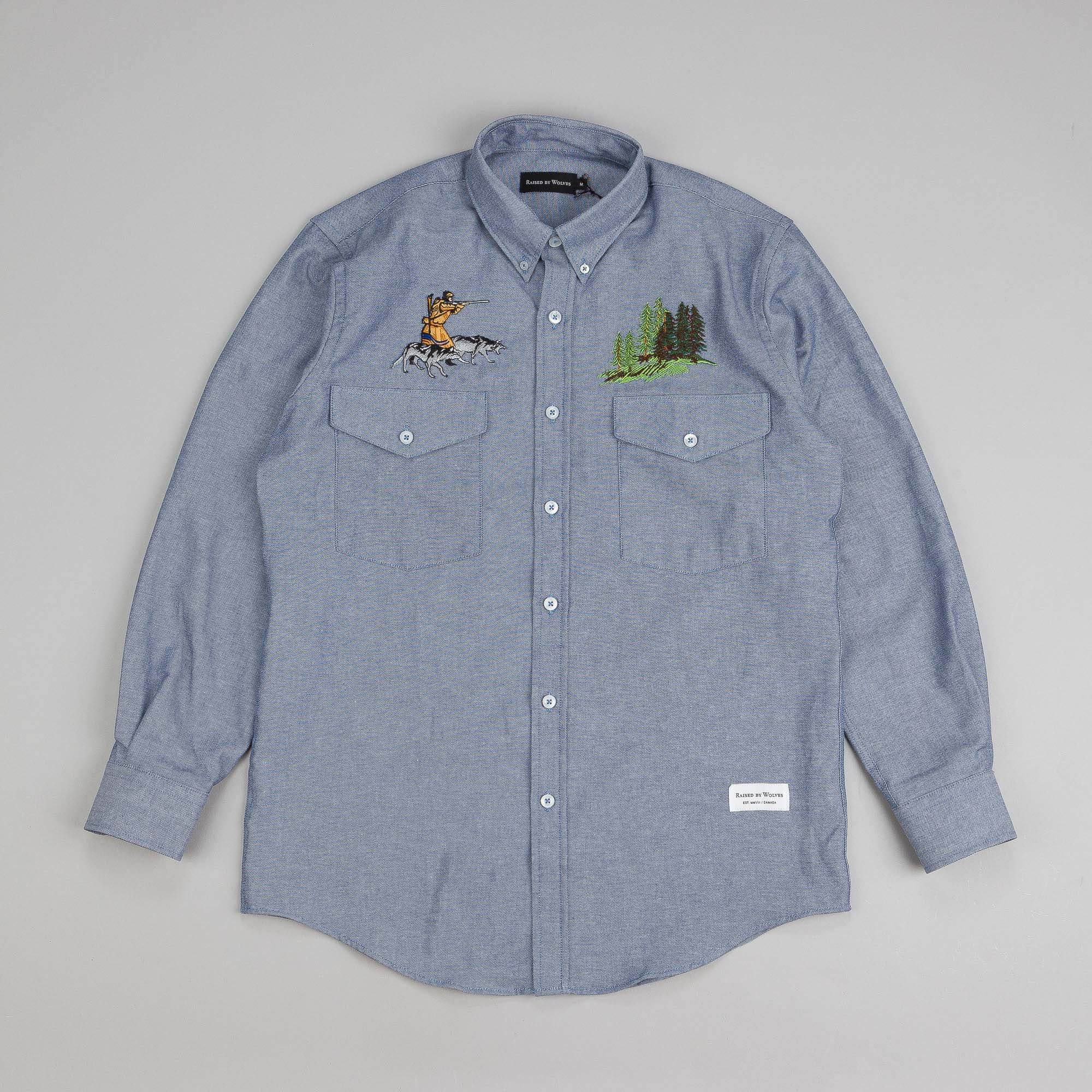 Raised By Wolves Trap or Die Button Down Shirt Blue