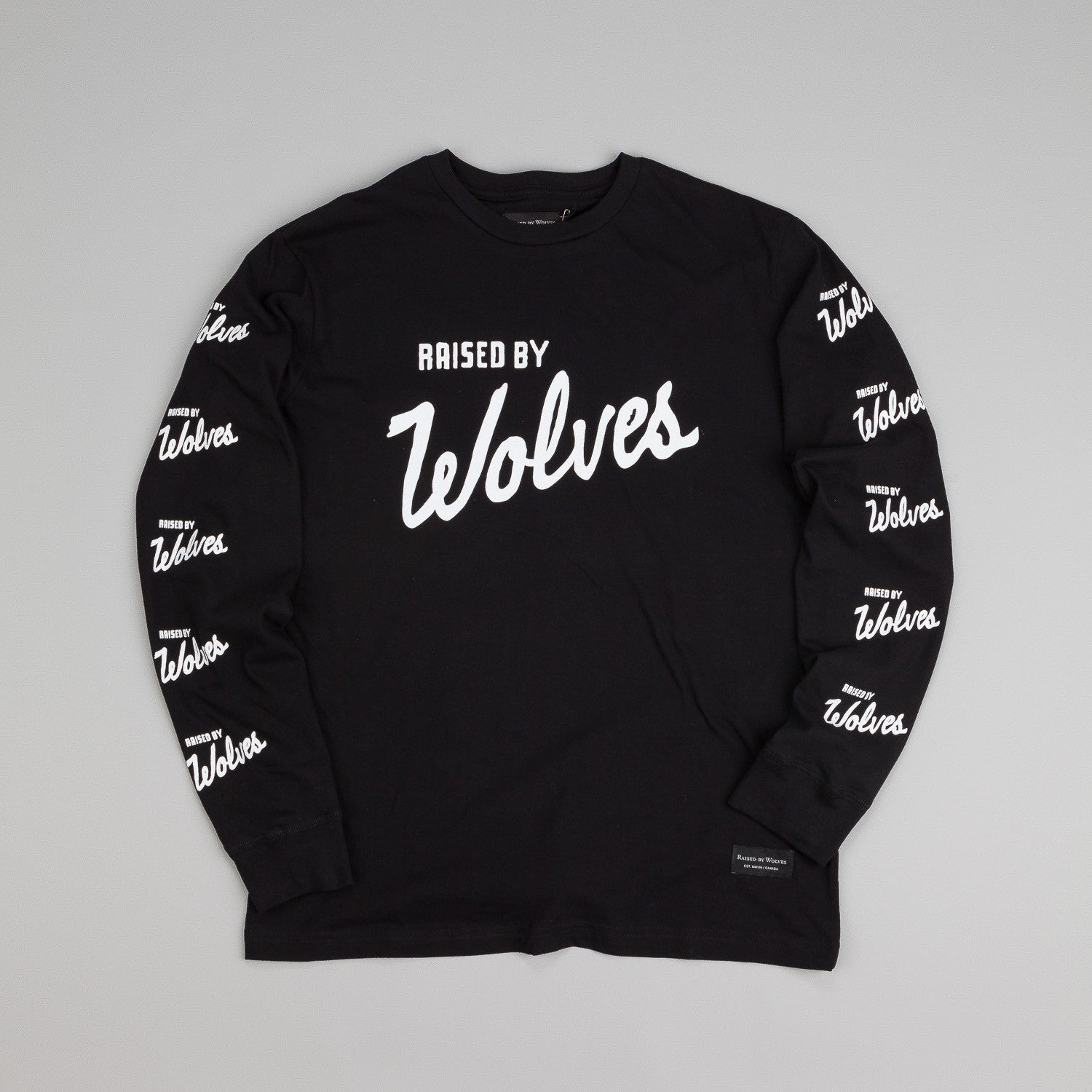 Raised By Wolves Varsity Logo Longsleeve T Shirt Black