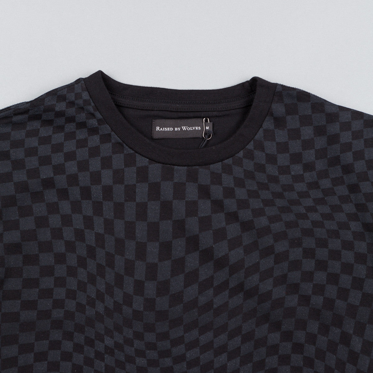 Raised By Wolves Warped Checkerboard T-Shirt - Black