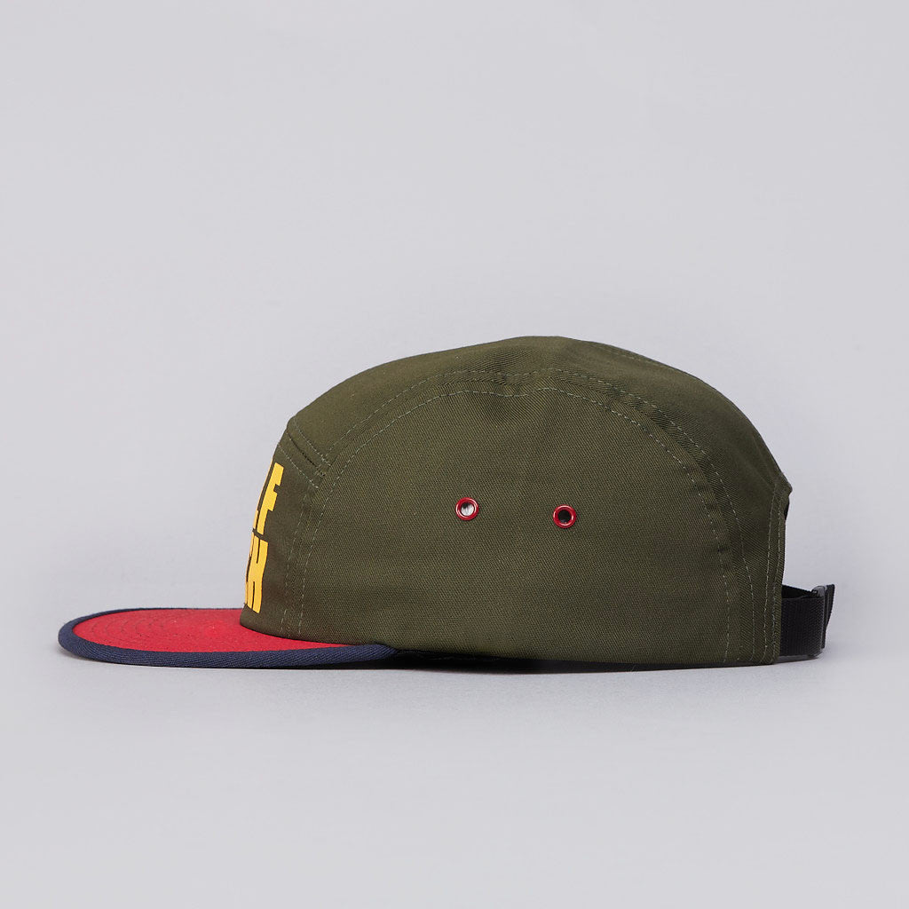 Raised By Wolves Wolf Beach 5 panel Cap Navy / Red / Green