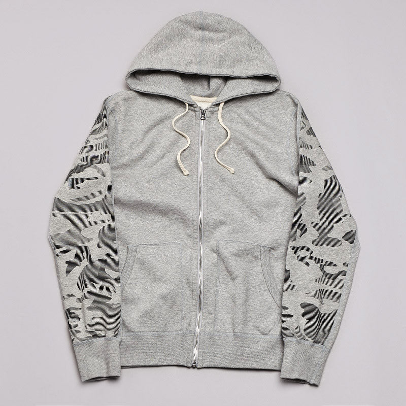 Reigning Champ Camo Print Zipped Hooded Sweatshirt Heather Grey / Black