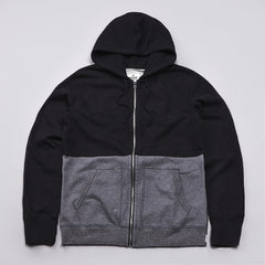 Reigning Champ Engineered Stripe Zipped Hooded Sweatshirt Black / Charcoal Heather