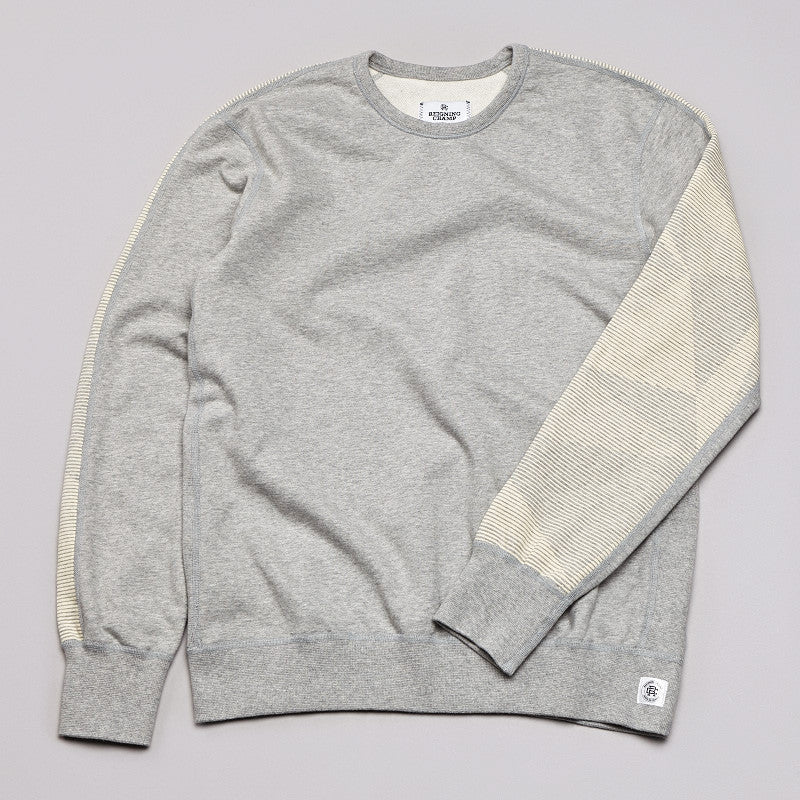 Reigning Champ Geometric Print Crew Neck Sweatshirt Heather Grey / Ivory