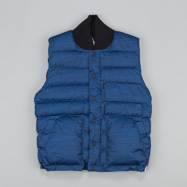 Reigning Champ X Crescent Down Works Printed Poly Down Vest Navy