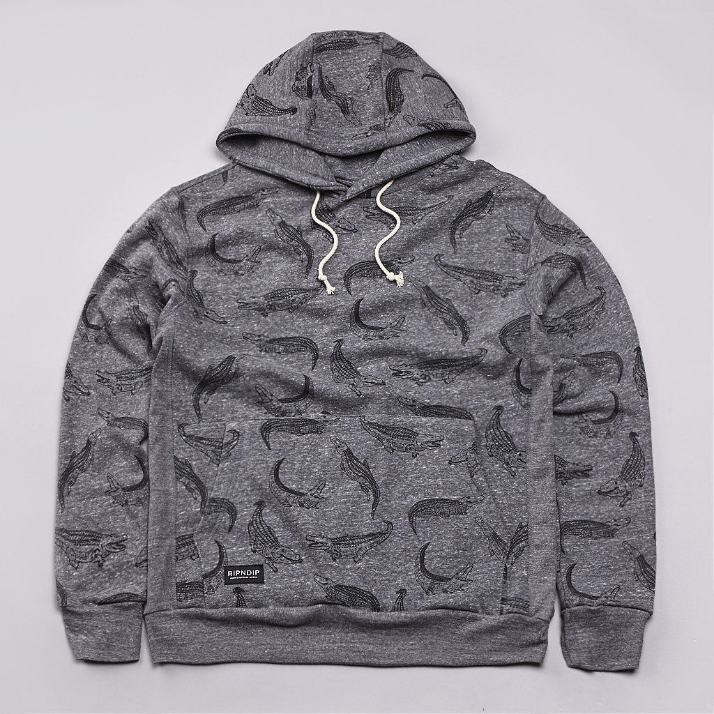 Rip N Dip Alligator Hooded Sweatshirt Athletic Heather