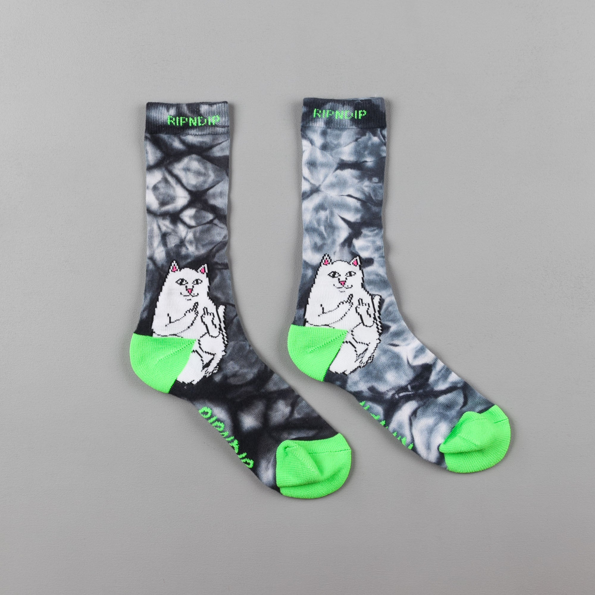 Rip N Dip Lord Nermal Socks - Black Acid Dye / Green