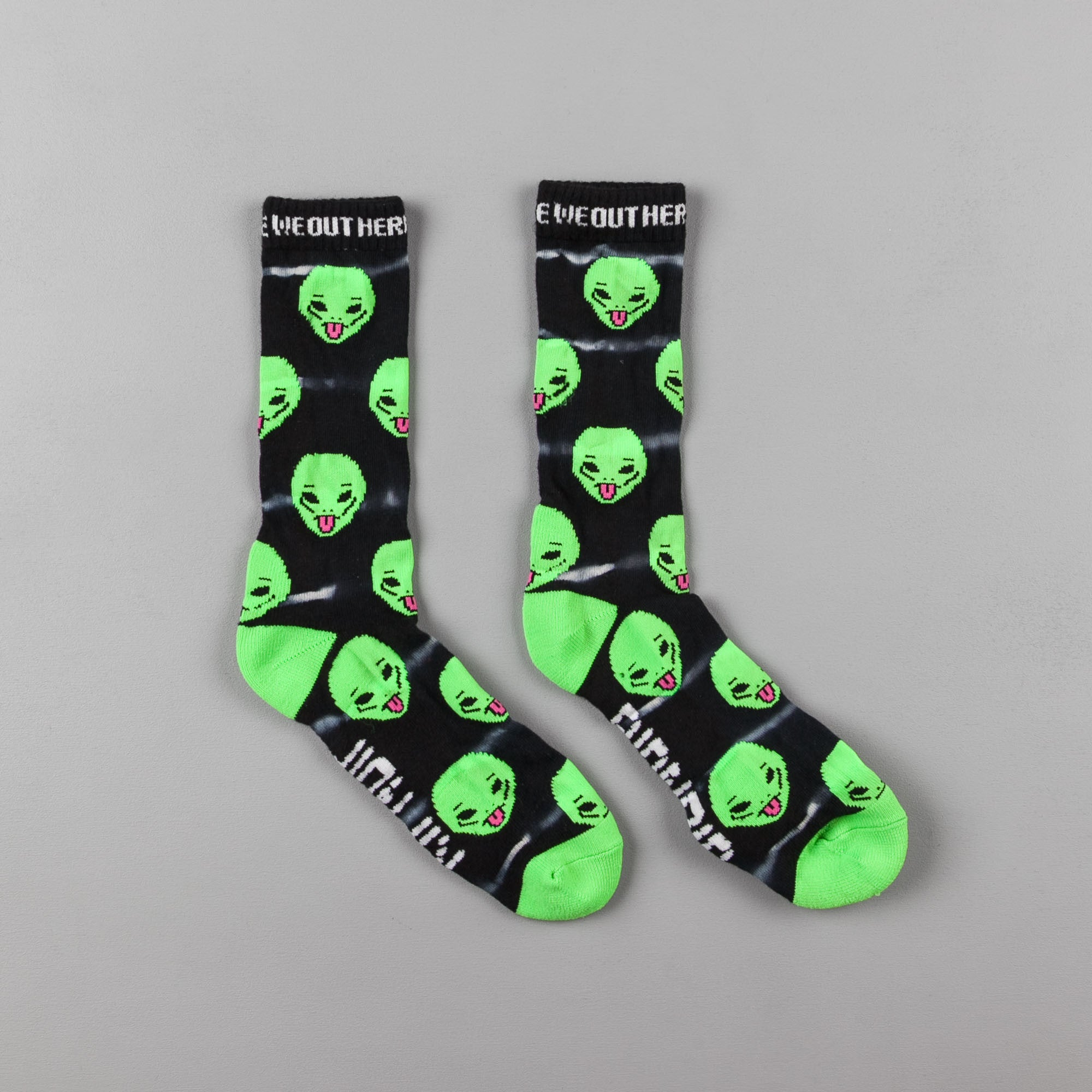 Rip N Dip We Out Here Tie-Dye Socks - Black / Grey