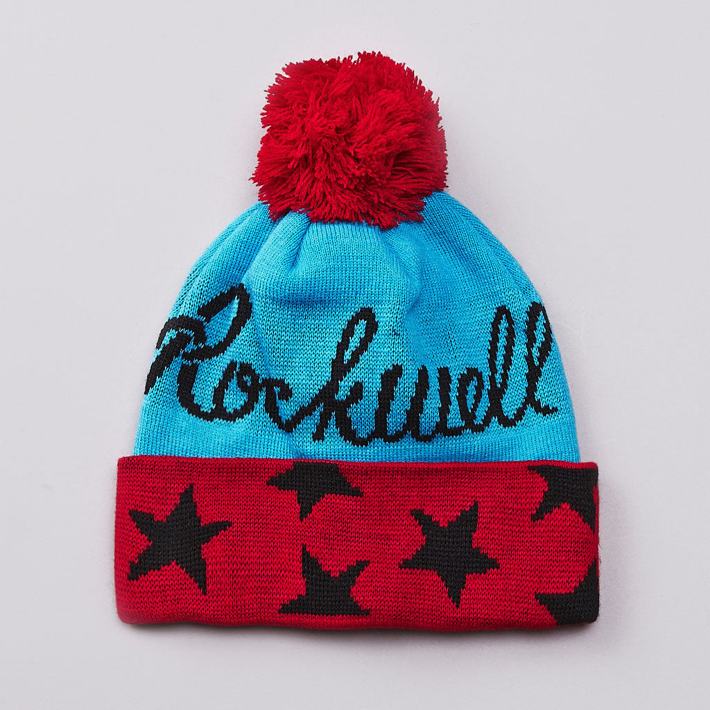Rockwell Pom Pom Country Club Beanie Blue / Red