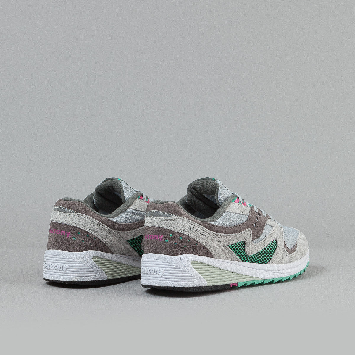 Saucony Grid 8000 CL Shoes - Light Grey / Dark Grey