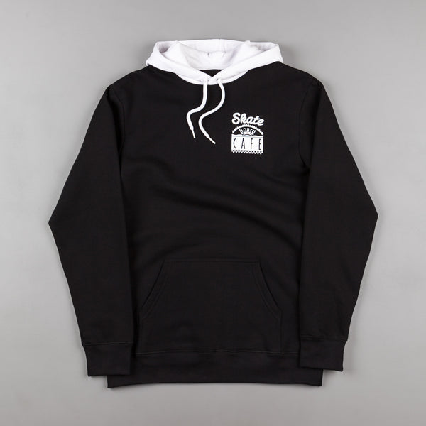 Skateboard Cafe Diner Split Hooded Sweatshirt - Black / White