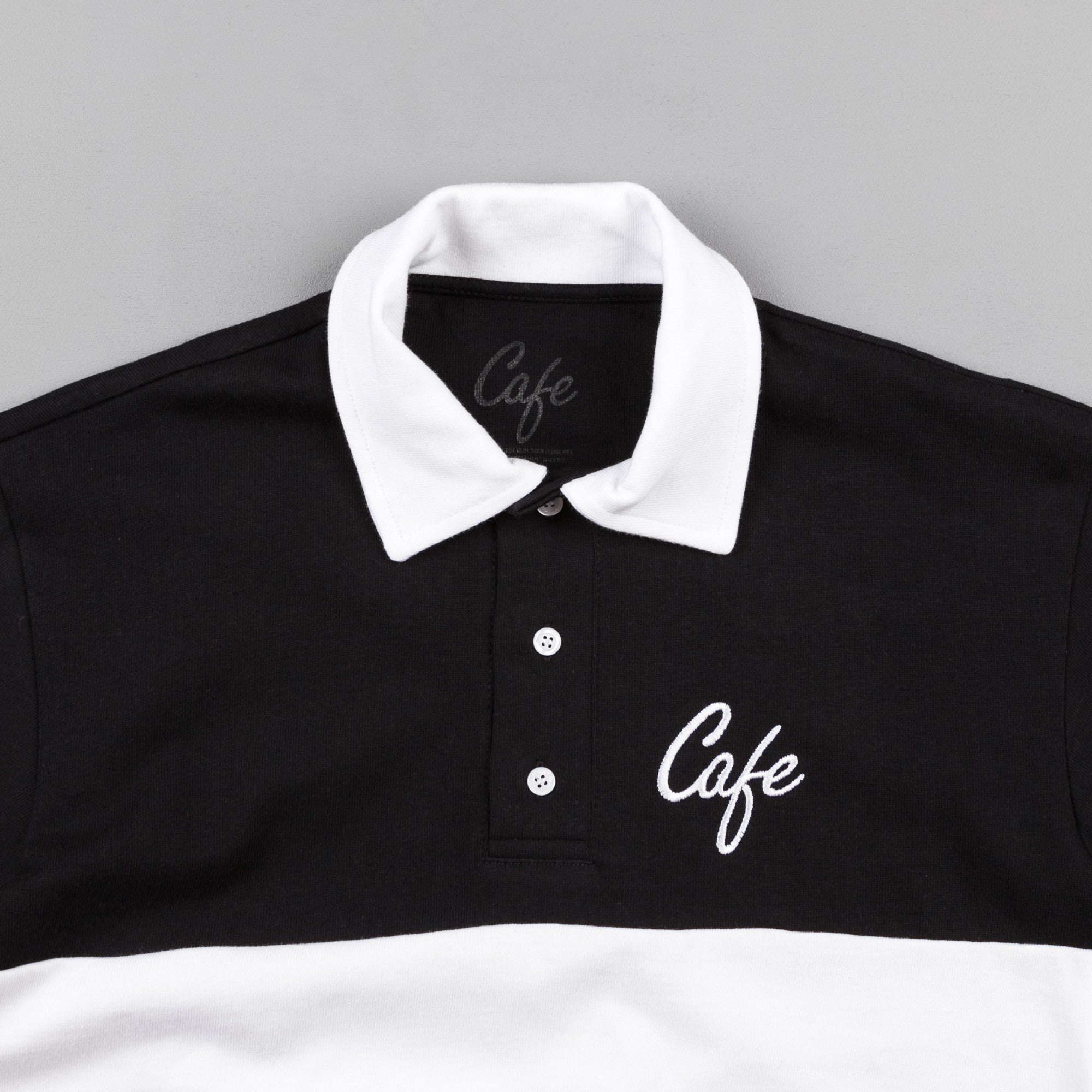 Skateboard Cafe Script Long Sleeve Polo Shirt - Black / White