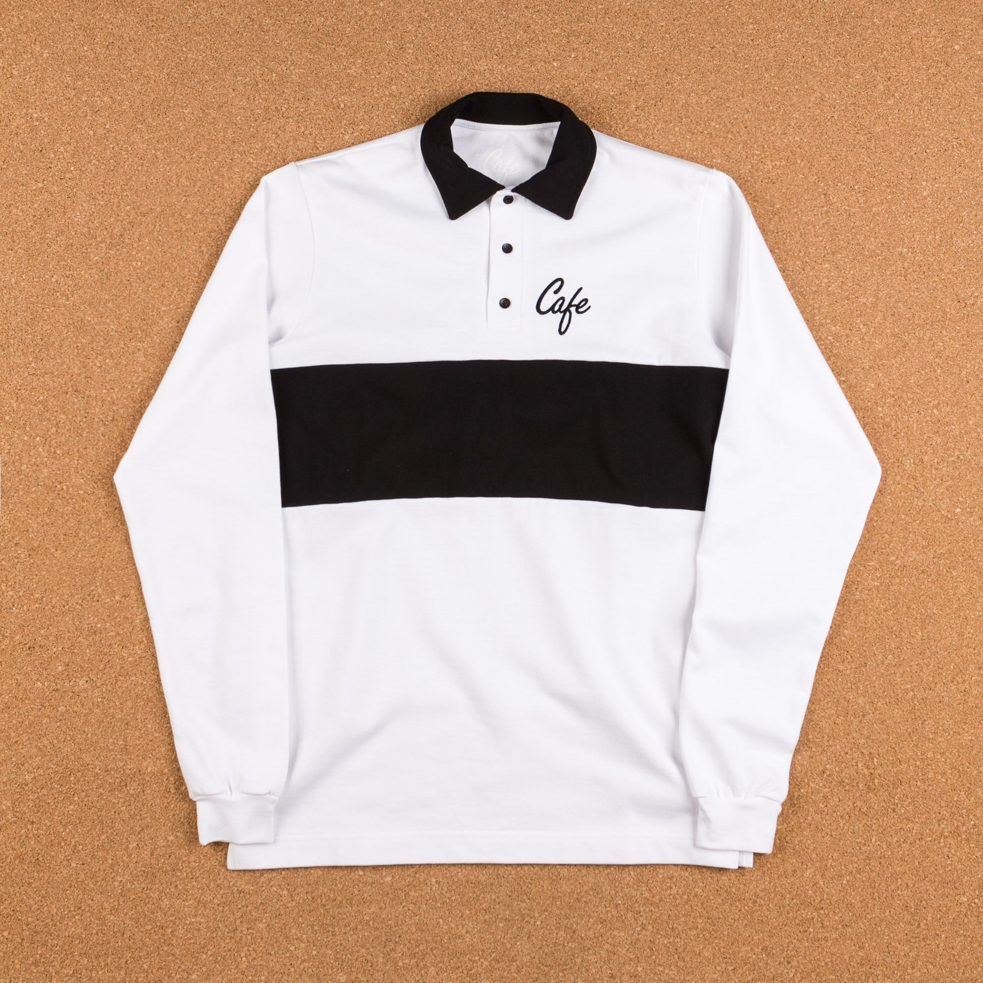 Skateboard Cafe Script Long Sleeve Polo Shirt - White / Black