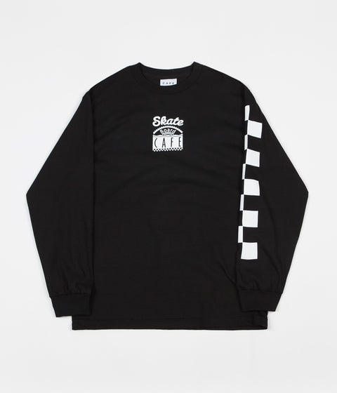 Skateboard Cafe Check Long Sleeve T-Shirt - Black / White