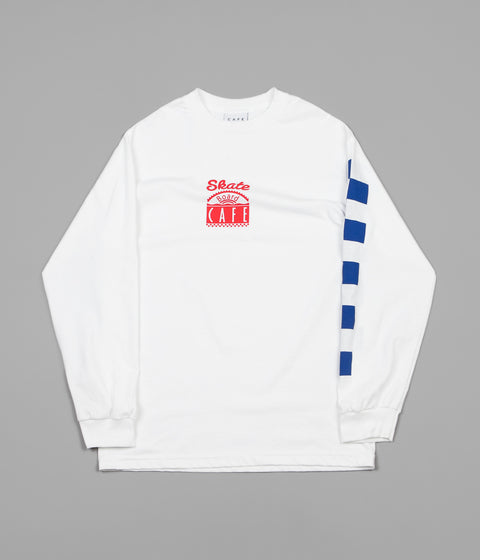 Skateboard Cafe Check Long Sleeve T-Shirt - White / Red / Blue