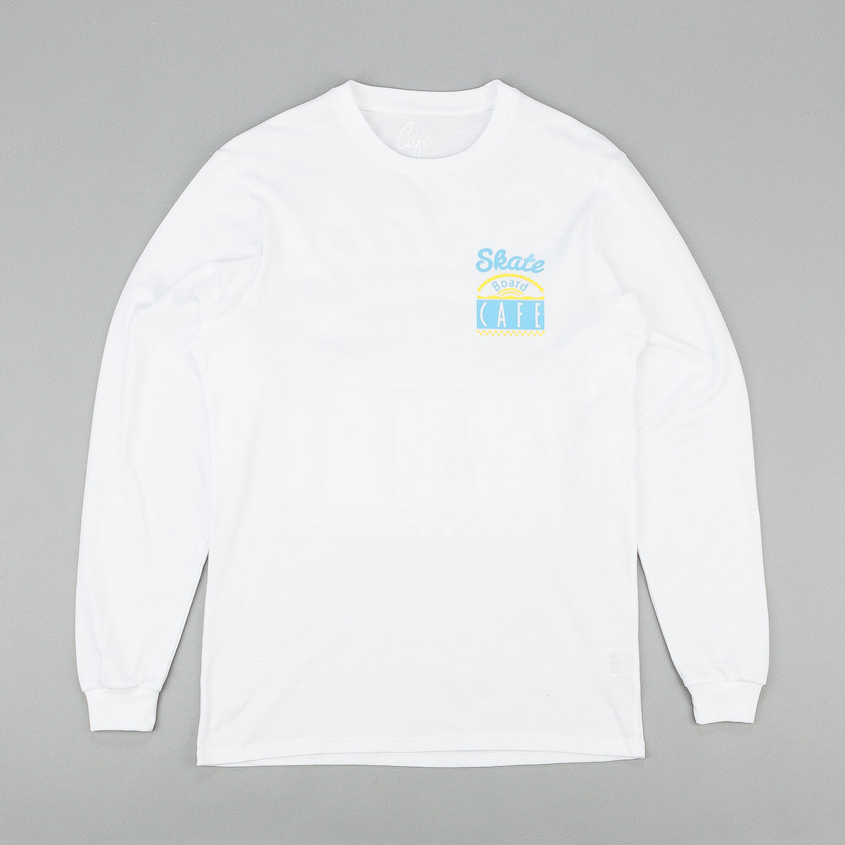 Skateboard Cafe Diner Long Sleeve T-Shirt - White / Blue / Yellow