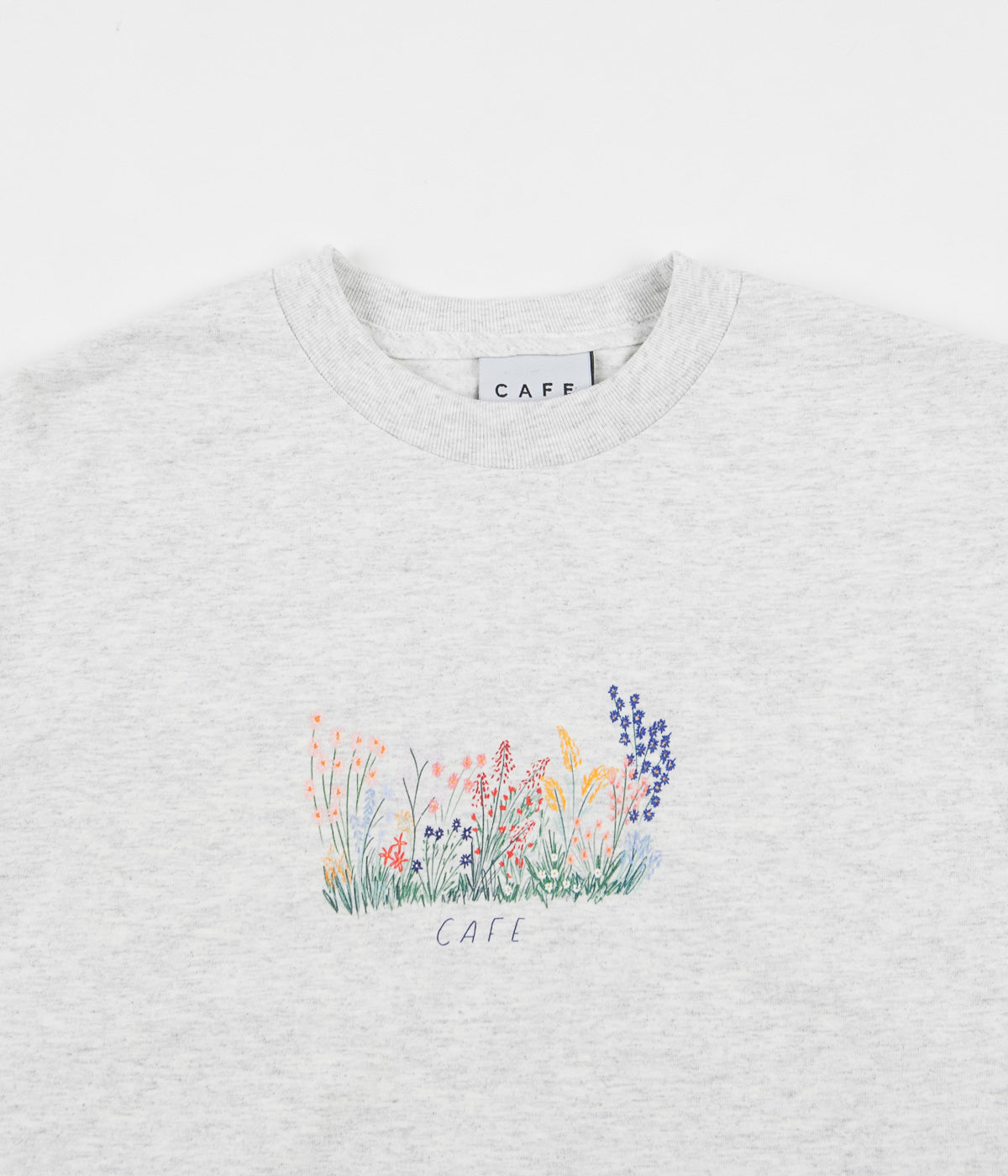 Skateboard Cafe Flower Bed Long Sleeve T-Shirt - Ash