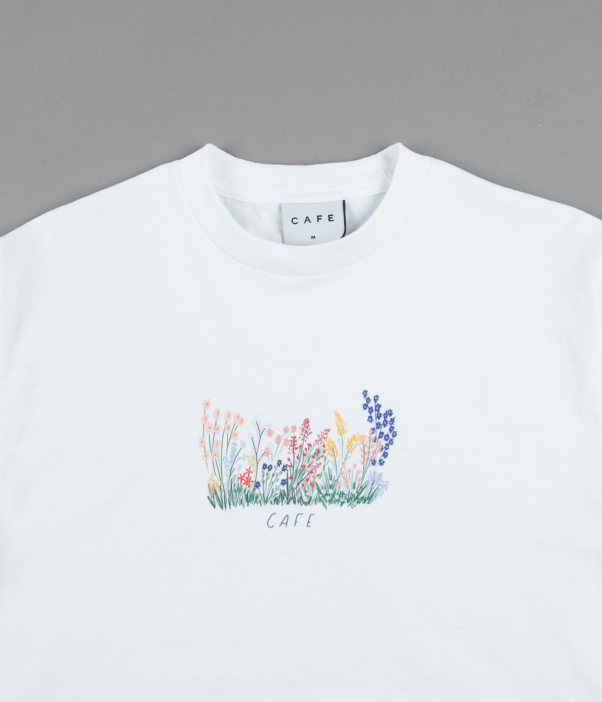 Skateboard Cafe Flower Bed T-Shirt - White