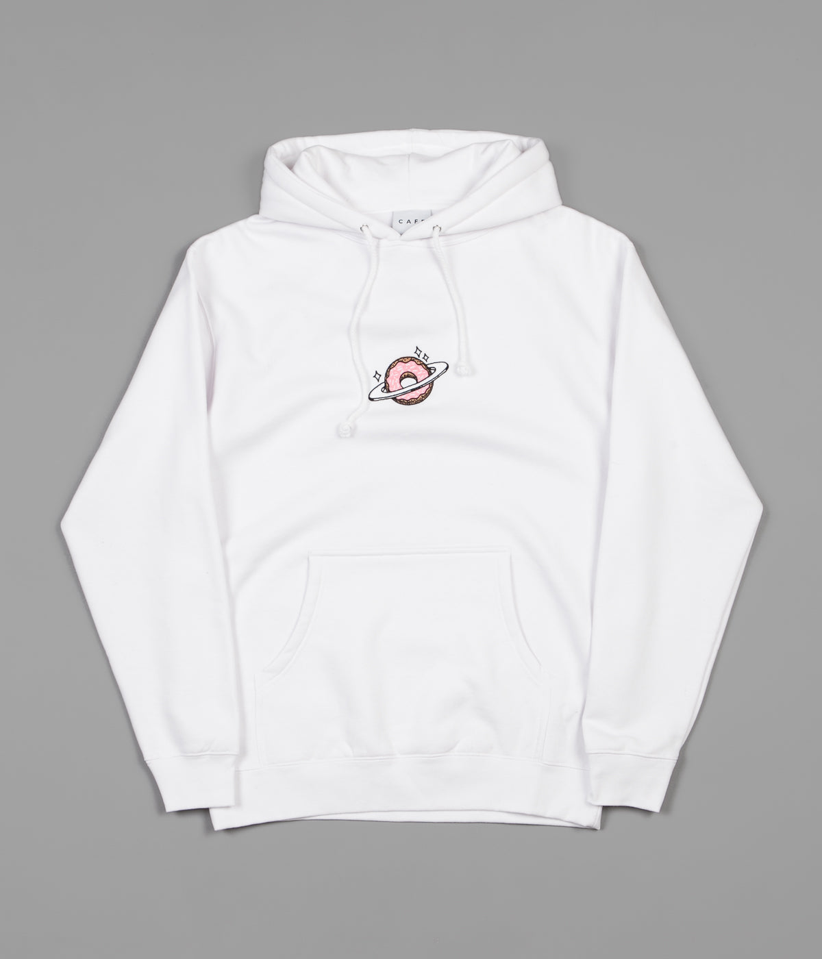 Skateboard Cafe Planet Donut Embroidered Hoodie - White