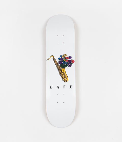 Skateboard Cafe Sax Flowers Deck - White - 8""