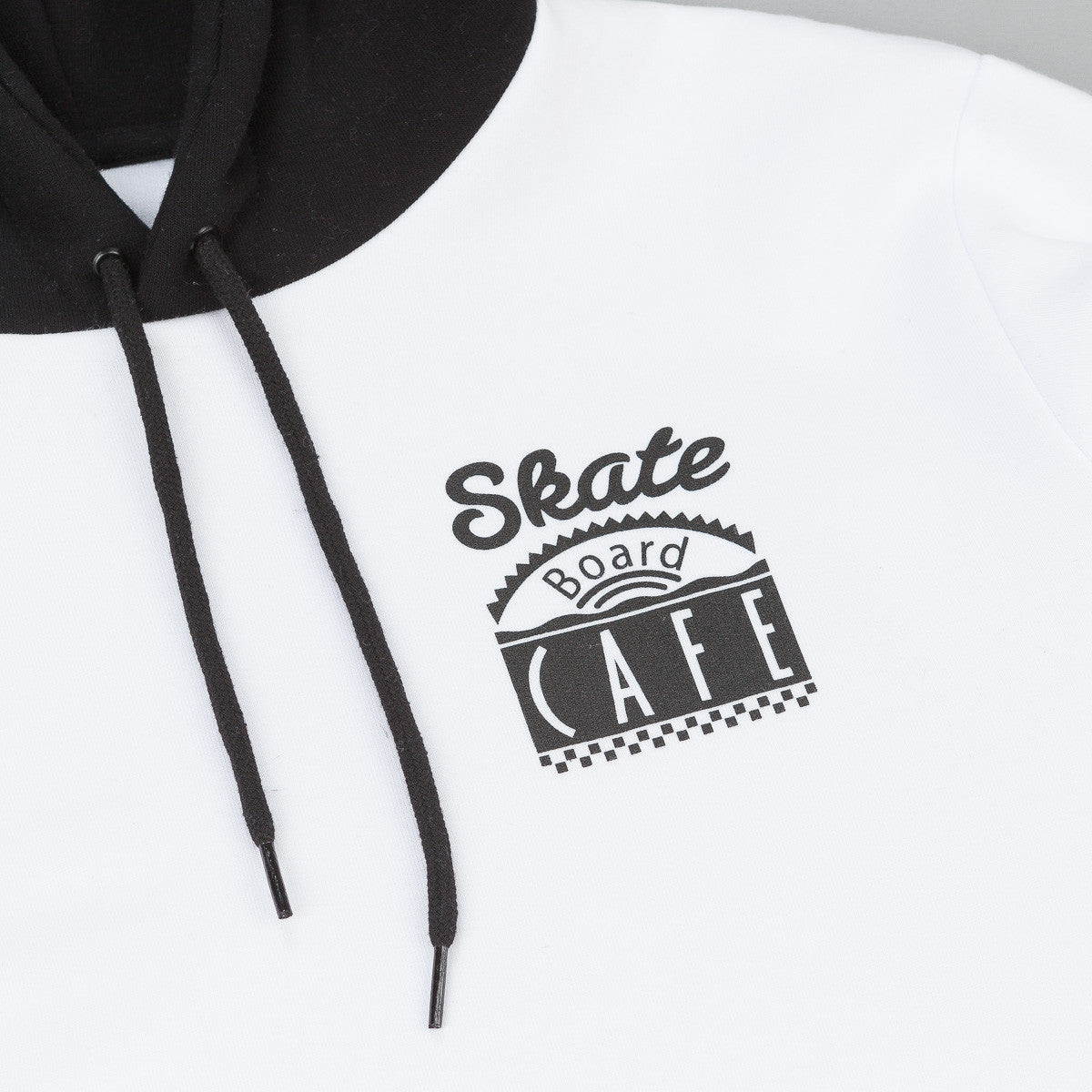 Skateboard Cafe Split Pullover Hooded Sweatshirt - White / Black