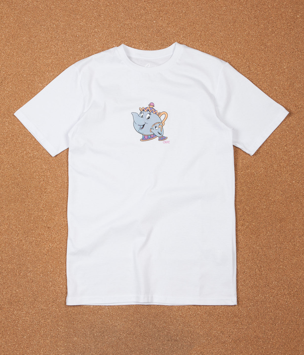 Skateboard Cafe Tea Cup T-Shirt - White