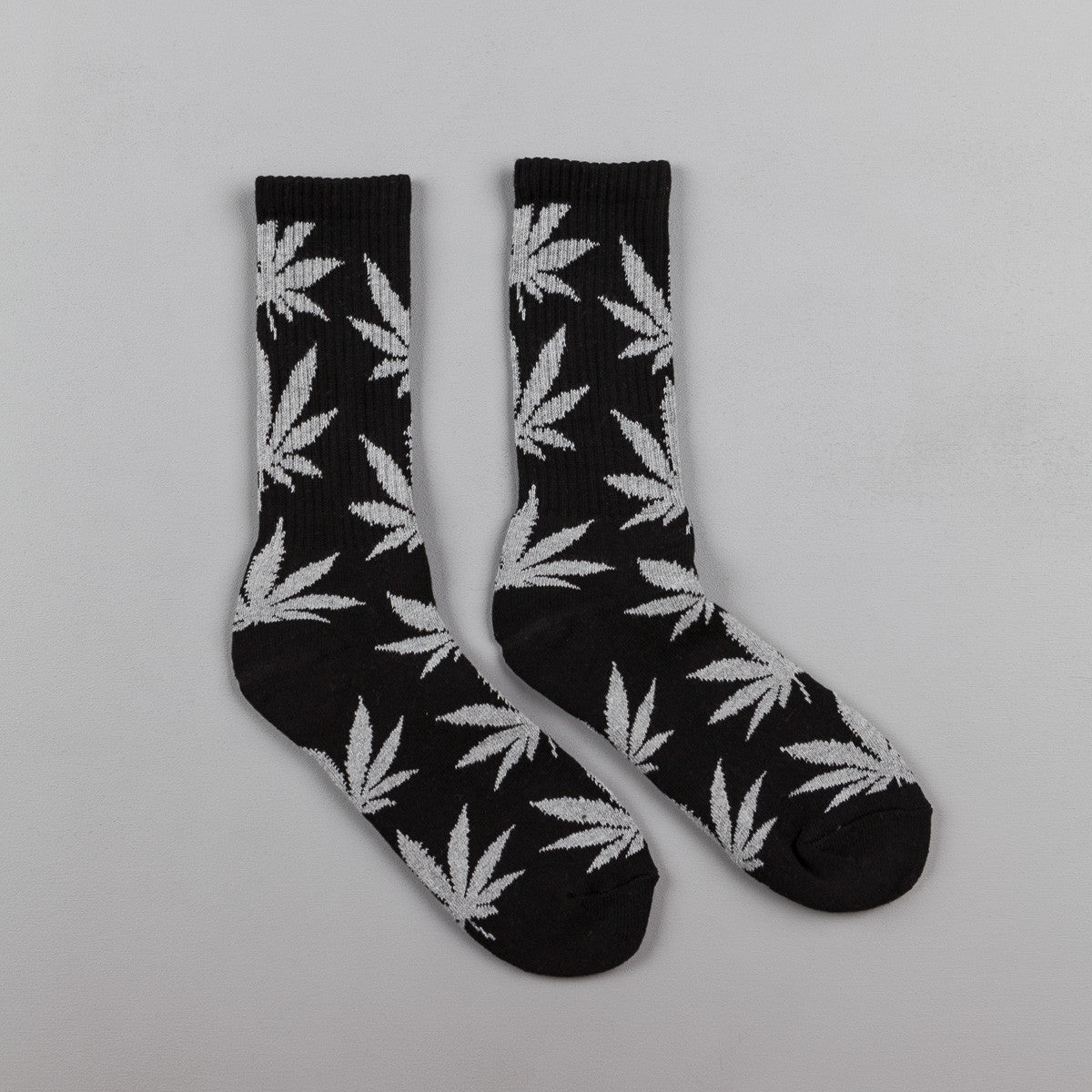 HUF Plantlife Crew Socks - Black / Grey Heather