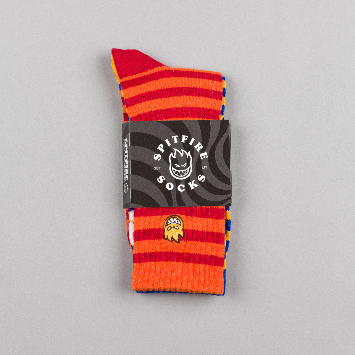 Spitfire Bighead Stripe Socks - Yellow / Blue - Orange / Red